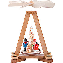 1 - Tier Pyramid  -  Santa Claus and Striezel Children  -  23cm / 9 inch