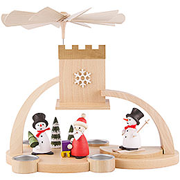1 - Tier Pyramid  -  Snowman and Santa Claus  -  29cm / 11.4 inch