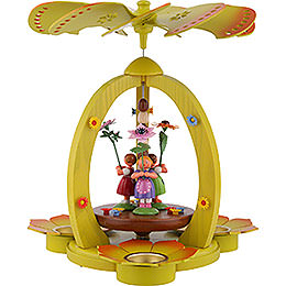 1 - Tier Pyramid with Flower Children  -  Colored  -  32cm / 12.6 inch
