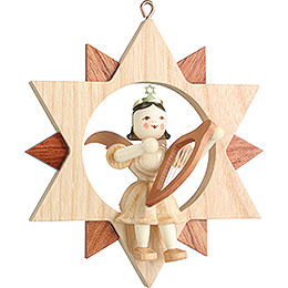 Angel Sitting in a Star with Lyre, Natural  -  9cm / 3.5 inch
