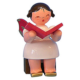 Angel with Book  -  Red Wings  -  Sitting  -  5cm / 2 inch