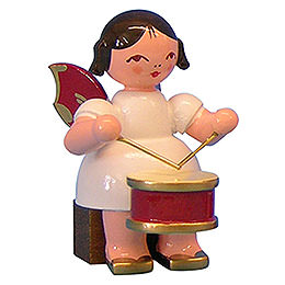 Angel with Drum  -  Red Wings  -  Sitting  -  5cm / 2 inch
