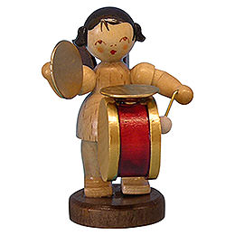 Angel with Drum and Cymbal  -  Natural Colors  -  Standing  -  6cm / 2,3 inch