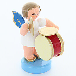 Angel with Drum and Cymbals  -  Blue Wings  -  Standing  -  6cm / 2.4 inch