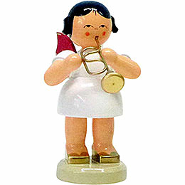 Angel with Flugelhorn  -  Red Wings  -  Standing  -  9,5cm / 3.7 inch