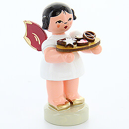 Angel with Gingerbread Plate  -  Red Wings  -  Standing  -  6cm / 2.4 inch