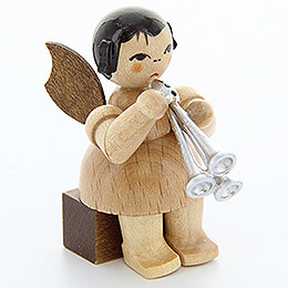 Angel with Shawm  -  Natural Colors  -  Sitting  -  5cm / 2 inch