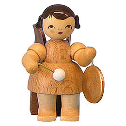 Angel with Small Gong  -  Natural Colors  -  Sitting  -  5cm / 2 inch
