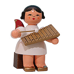 Angel with Xylophone  -  Red Wings  -  Sitting  -  5cm / 2 inch