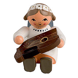 Angel with Zither Sitting  -  4cm / 2 inch