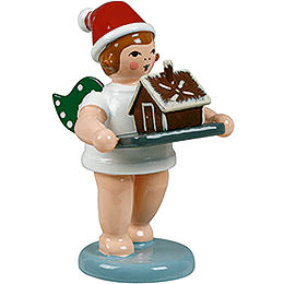 Baker Angel with Hat and Ginger Bread House  -  6,5cm / 2.5 inch