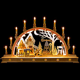 Candle Arch  -  Christmas Market with LED Interior Lights  -  78x45cm / 30x17 inch