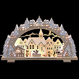 Candle Arch  -  Christmas Time with Sledding Child and Dog  -  53x31x4,5cm / 21x8x1.8 inch