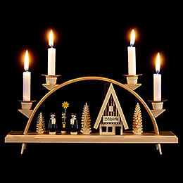 Candle Arch  -  Ski Lodge with Carolers  -  33x15cm / 13x5.9 inch