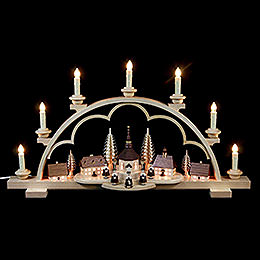 Candle Arch  -  Village Seiffen  -  64cm / 25 inch  -  120 V Electr. (US - Standard)
