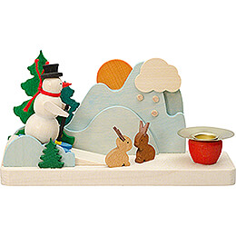 Candle Holder with Snowman and Bunnies  -  6cm / 2.4 inch