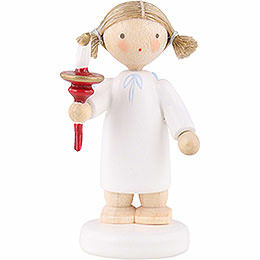 Flax Haired Angel with Candle  -  5cm / 2 inch