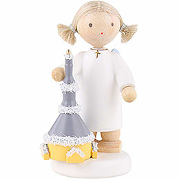 Flax Haired Angel with Church of Seiffen  -  5cm / 2 inch