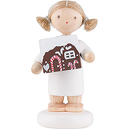 Flax Haired Angel with Gingerbread House  -  5cm / 2 inch