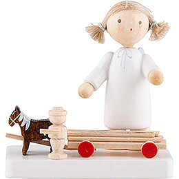 Flax Haired Angel with Horses and Cart  -  5cm / 2 inch