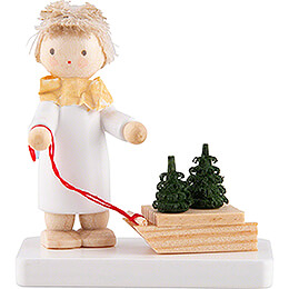 Flax Haired Angel with Sled and Tree Saplings  -  5cm / 2 inch