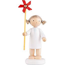 Flax Haired Angel with Wind Wheel  -  5cm / 2 inch