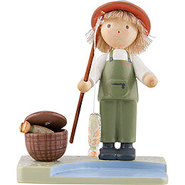 Flax Haired Children Boy with Rainbow Trouts  -  Edition Flade & Friends  -  5cm / 2 inch