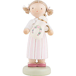 Flax Haired Children Girl with Coffee Pot  -  5cm / 2 inch