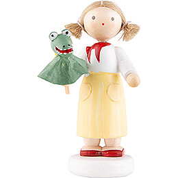 Flax Haired Children Girl with Crocodile  -  5cm / 2 inch