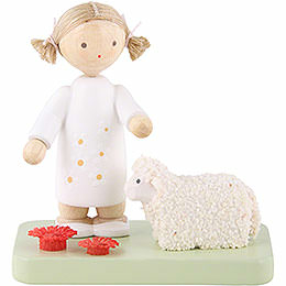 Flax Haired Children Girl with Little Lamb  -  5cm / 2 inch