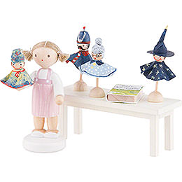 Flax Haired Children Puppeteer  -  5cm / 2 inch