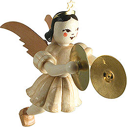 Floating Angel with Cymbals, Natural  -  6,6cm / 2.6 inch