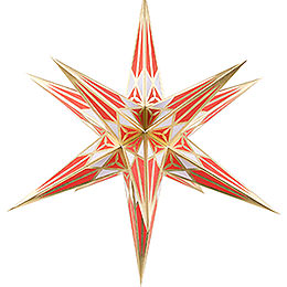 Hartenstein Christmas Star for Inside Use  -  White - Red with Gold  -  68cm / 27 inch
