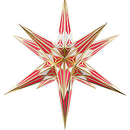 Hartenstein Christmas Star for Inside Use  -  White - Wine Red with Gold  -  68cm / 27 inch