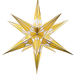 Hartenstein Christmas Star for Inside Use  -  White - Yellow with Gold  -  68cm / 27 inch
