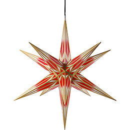 Hasslau Christmas Star  -  Red/White with Golden Pattern and Lighting  -  75cm / 30 inch  -   Inside/Outside Use