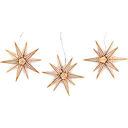 Hasslau Christmas Star Set of Three for Inside Use White with Golden Pattern  -  16cm / 6.3 inch
