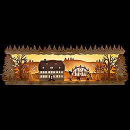 Illuminated Stand  -  Seiffen School with Candle Arch  -  57x17cm / 22.5x6.7 inch