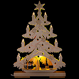 Light Triangle  -  Fir Tree with Carolers  -  32x44cm / 12.6x17.3 inch