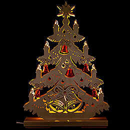 Light Triangle  -  Fir Tree with red Bells  -  32x44cm / 12.6x17.3 inch