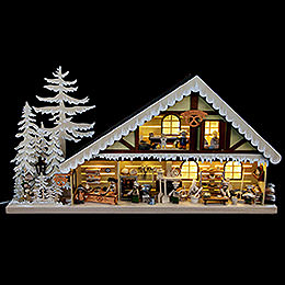 Lighted House Bakery with White Frost  -  70x38cm / 28x15 inch