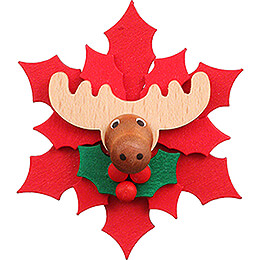 Magnetic Pin  -  Christmas Star with Moose  -  6,5cm / 2.6 inch