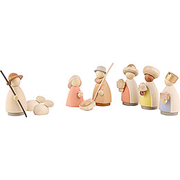 Nativity Set of 9 Pieces Colored  -  Small  -  7cm / 2.8 inch