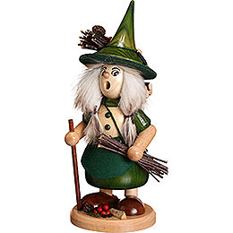 Smoker  -  Lady Gnome with Brushwood, Green  -  25cm / 10 inch