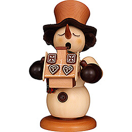 Smoker  -  Snowman with Gingerbread House Natural  -  23,5cm / 9.3 inch