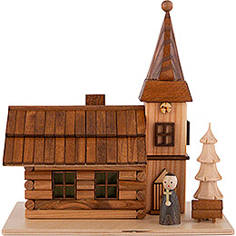 Smoking House  -  Rural Church with Pastor and LED  -  19cm / 7.5 inch