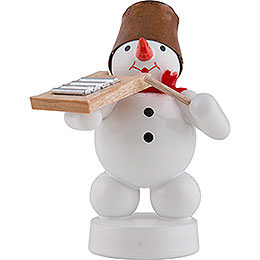 Snowman Musician with Washboard  -  8cm / 3 inch
