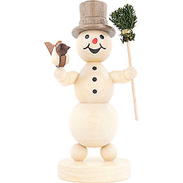 Snowman with Broom and Bird  -  12cm / 4.7 inch