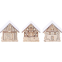Snowy Houses for Candle Arch Lamps  -  3 pcs.  -  5,5x5cm / 2.2x2 inch