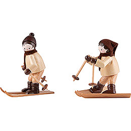 Thiel Figurines  -  Downhill Skier  -  natural  -  Set of Two  -  6,5cm / 2.6 inch